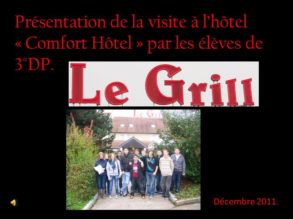 Présentation de la visite à lhôtel « Comfort Hôtel » par les élèves de 3°DP. Décembre 2011.