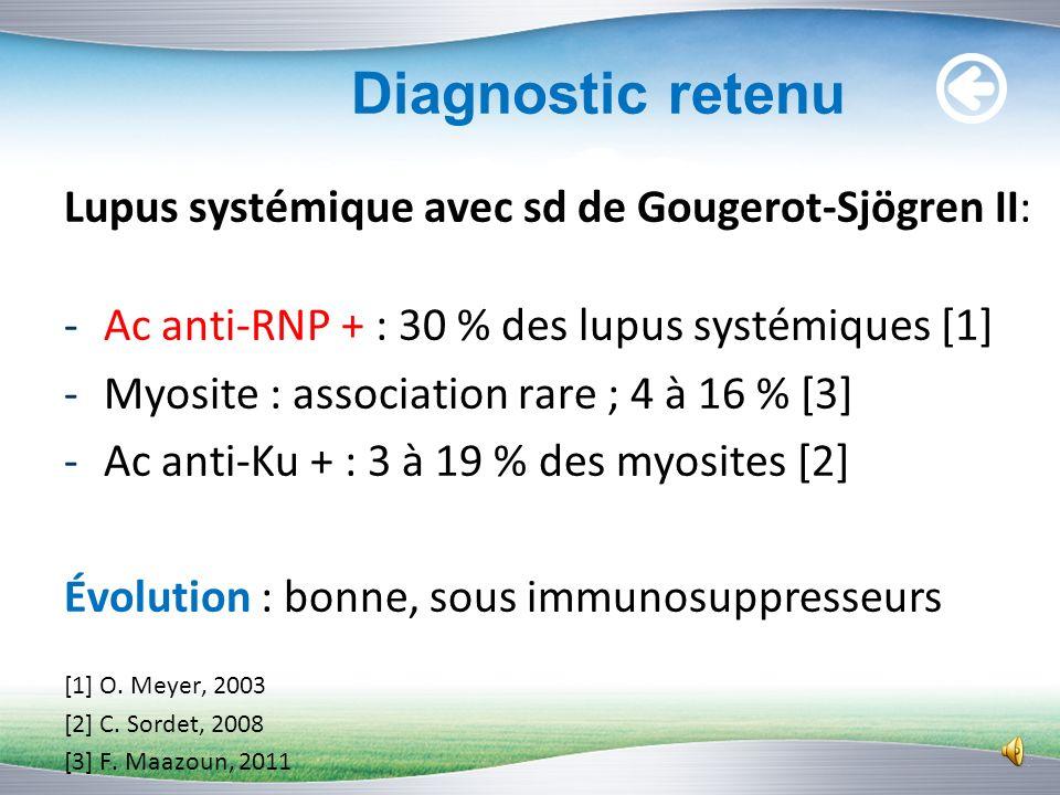 Bilan immunologique (3) Identification des Ac anti-ENA : RNP (68kD/A/C) : Positifs index = 93 Ku : Positifs index = 61 Ribosomes : Positifs index = 47