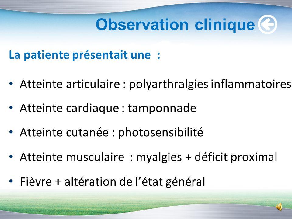 Observation clinique Nom : Mlle G.C Age: 17 ans Origine : Beni mellal Hospitalisée au service de cardiologie en septembre 2012: péricardite au stade d