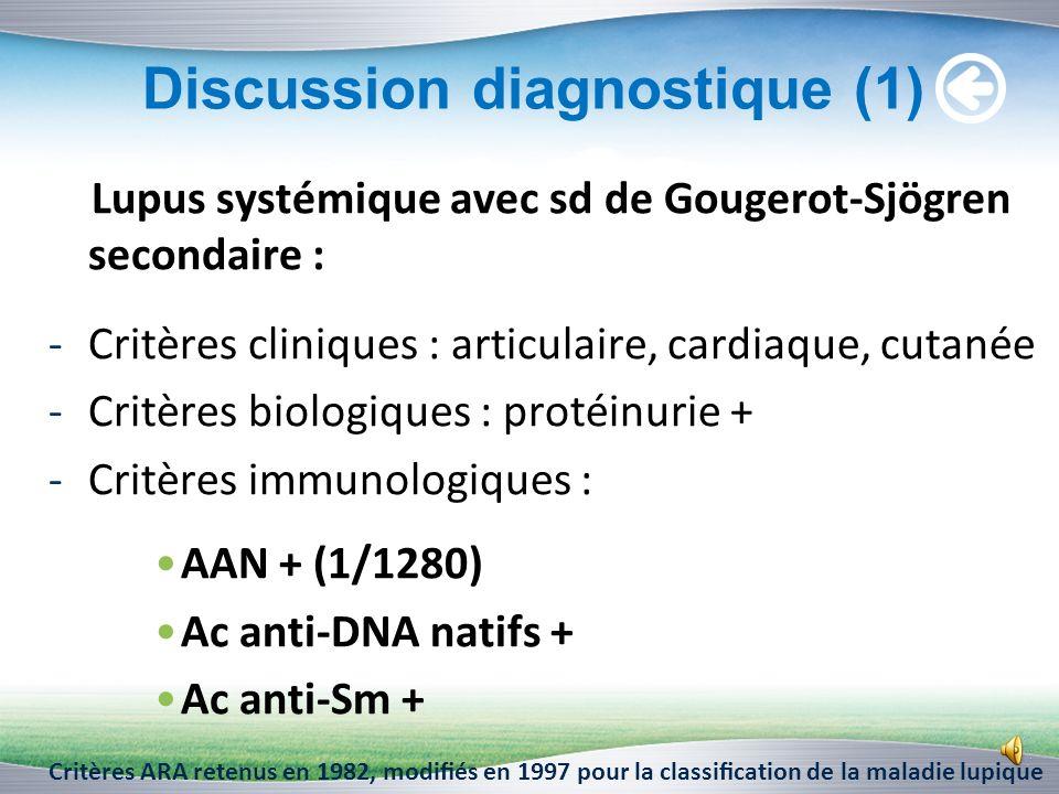 Bilan immunologique (2) Identification des Ac anti-ENA : Nucléosome : Positifs index =23 DNA : Positifs index = 17 Histone : Négatifs Sm : Positifs in