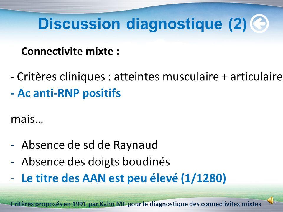 Discussion diagnostique (1) Lupus systémique avec sd de Gougerot-Sjögren secondaire : -Critères cliniques : articulaire, cardiaque, cutanée -Critères