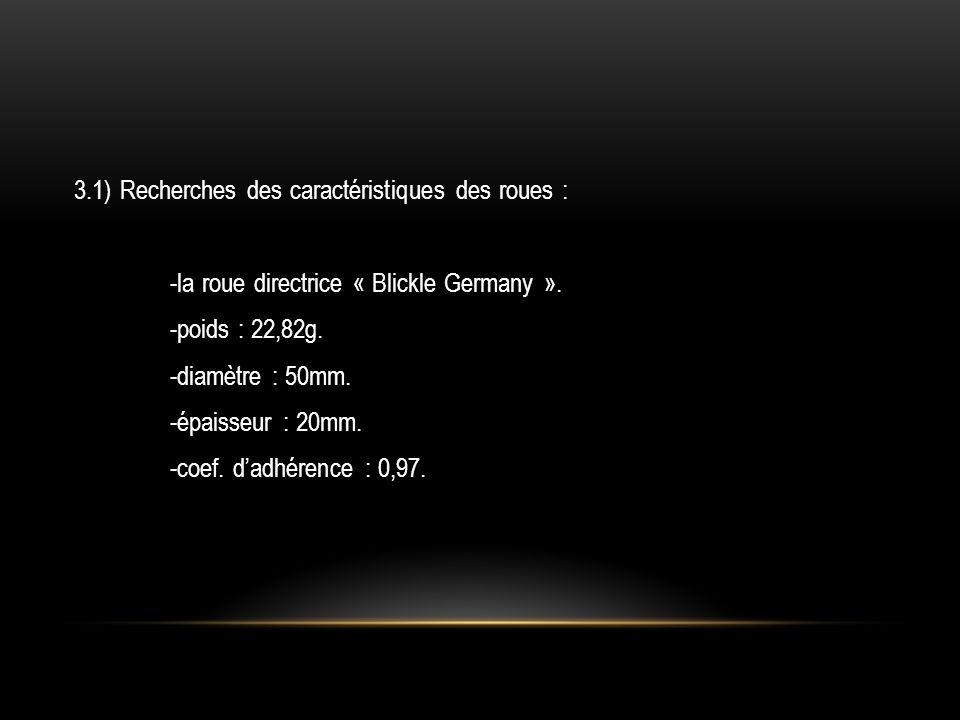 3.1) Recherches des caractéristiques des roues : -la roue directrice « Blickle Germany ». -poids : 22,82g. -diamètre : 50mm. -épaisseur : 20mm. -coef.