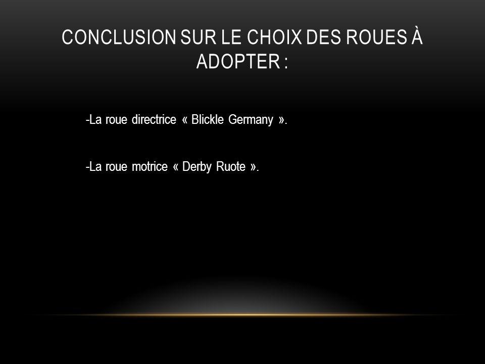 CONCLUSION SUR LE CHOIX DES ROUES À ADOPTER : -La roue directrice « Blickle Germany ». -La roue motrice « Derby Ruote ».