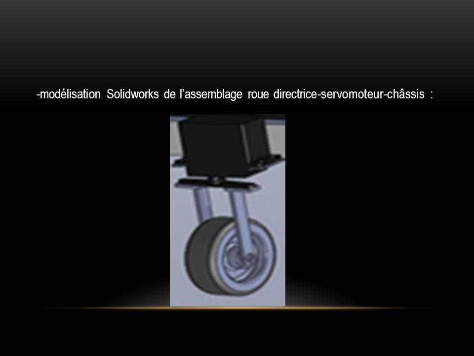 -modélisation Solidworks de lassemblage roue directrice-servomoteur-châssis :