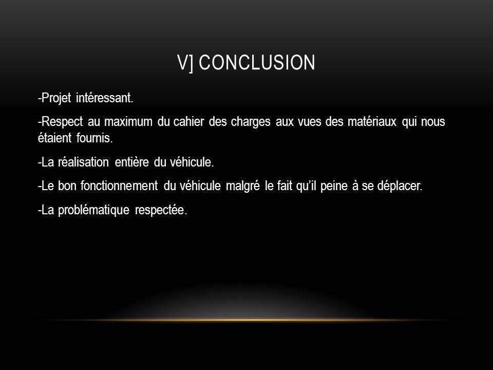 V] CONCLUSION -Projet intéressant. -Respect au maximum du cahier des charges aux vues des matériaux qui nous étaient fournis. -La réalisation entière