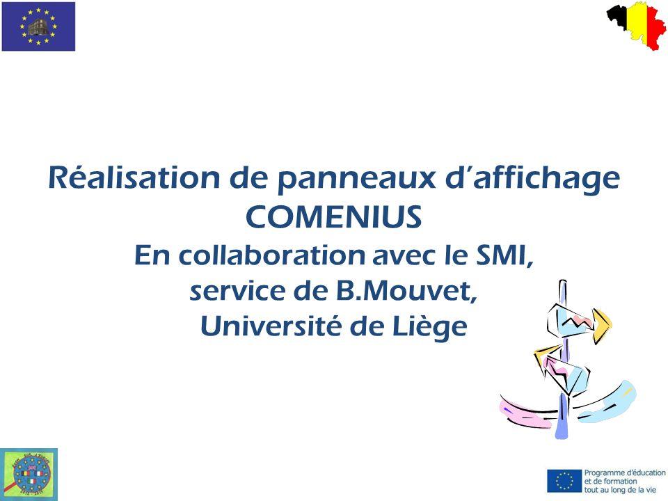 Réalisation de panneaux daffichage COMENIUS En collaboration avec le SMI, service de B.Mouvet, Université de Liège