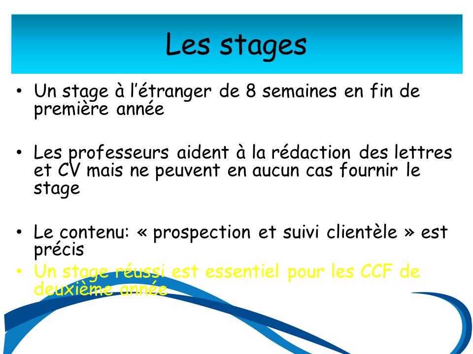 Les stages Un stage à létranger de 8 semaines en fin de première année Les professeurs aident à la rédaction des lettres et CV mais ne peuvent en aucun cas fournir le stage Le contenu: « prospection et suivi clientèle » est précis Un stage réussi est essentiel pour les CCF de deuxième année
