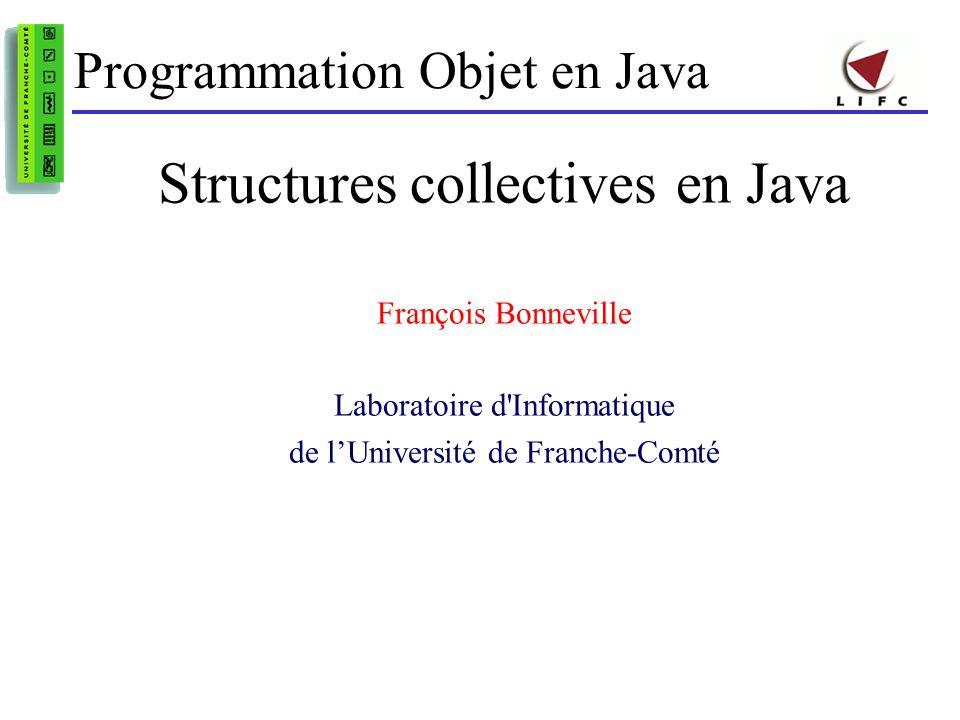 Structures collectives en Java - F.Bonneville12 Tri dune structure collective Algorithmes génériques Collections.sort(List l) Arrays.sort(Object[] a,…) Condition : collection déléments dont la classe définit des règles de comparaison en implémentant linterface java.lang.Comparable implements Comparable en définissant la méthode de comparaison public int compareTo(Object o) a.compareTo(b) == 0 si a.equals(b) a.compareTo(b) < 0 pour a strictement inférieur à b a.compareTo(b) > 0 pour a strictement supérieur à b