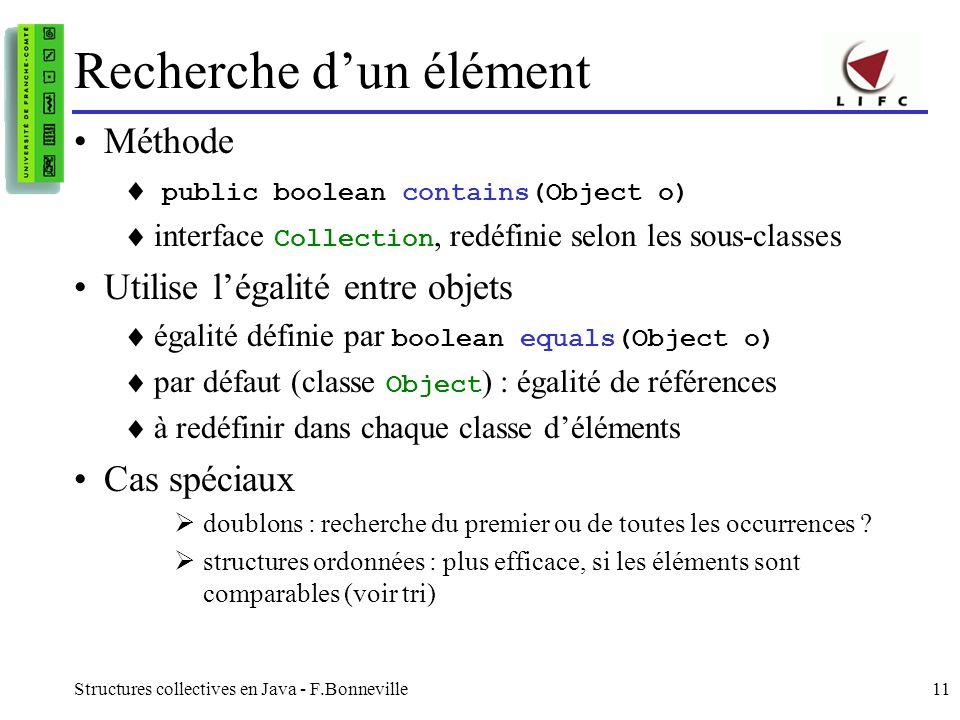 Structures collectives en Java - F.Bonneville11 Recherche dun élément Méthode public boolean contains(Object o) interface Collection, redéfinie selon les sous-classes Utilise légalité entre objets égalité définie par boolean equals(Object o) par défaut (classe Object ) : égalité de références à redéfinir dans chaque classe déléments Cas spéciaux doublons : recherche du premier ou de toutes les occurrences .