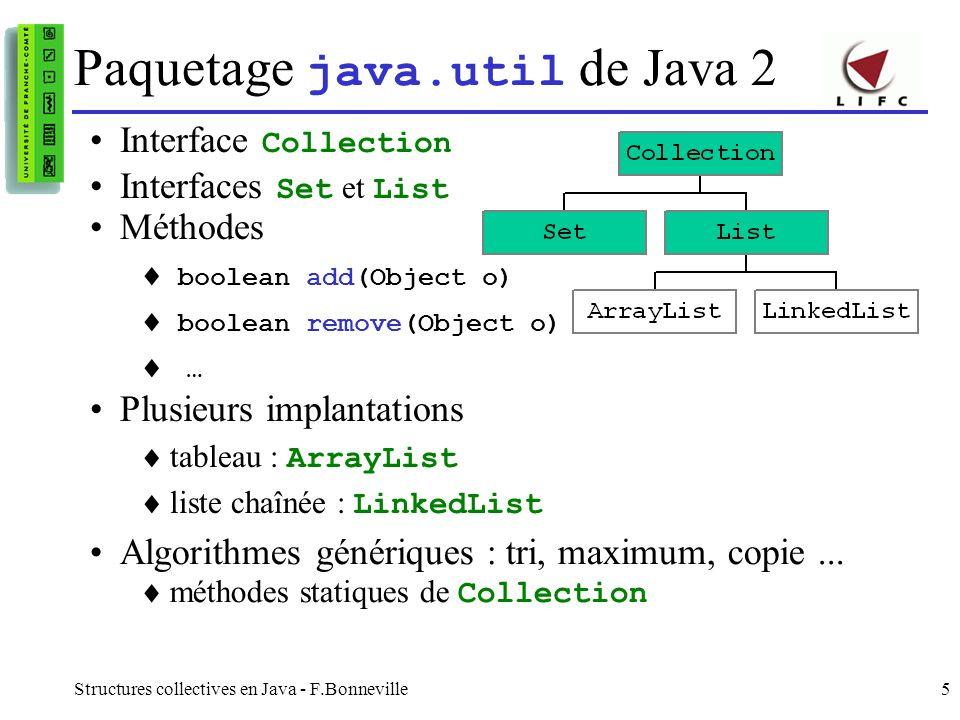 Structures collectives en Java - F.Bonneville6 Collection : méthodes communes boolean add(Object) : ajouter un élément boolean addAll(Collection) : ajouter plusieurs éléments void clear() : tout supprimer boolean contains(Object) : test d appartenance boolean containsAll(Collection) : appartenance collective boolean isEmpty() : test de l absence d éléments Iterator iterator() : pour le parcours (cf Iterator) boolean remove(Object) : retrait d un élément boolean removeAll(Collection) : retrait de plusieurs éléments boolean retainAll(Collection) : intersection int size() : nombre d éléments Object[] toArray() : transformation en tableau Object[] toArray(Object[] a) : tableau de même type que a