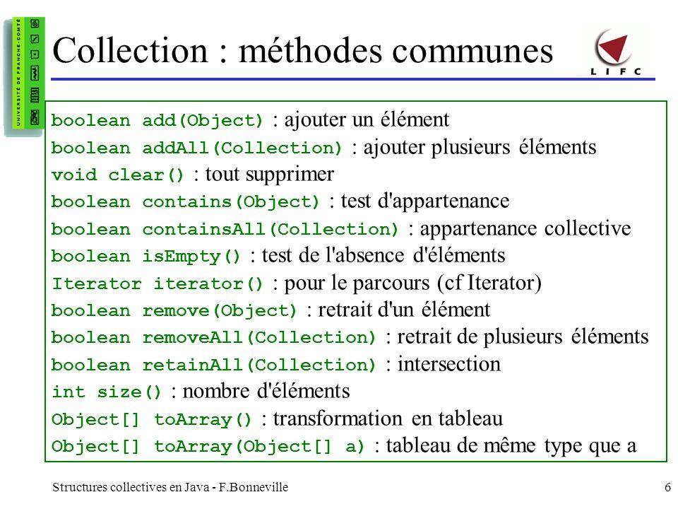 Structures collectives en Java - F.Bonneville7 Exemple : ajout déléments import java.util.*; public class MaCollection { static final int N = 25000; List listEntier = new ArrayList(); public static void main(String args[]) { MaCollection c = new MaCollection(); int i; for (i = 0; i < N; i++) { c.listEntier.add(new Integer(i)); } } }