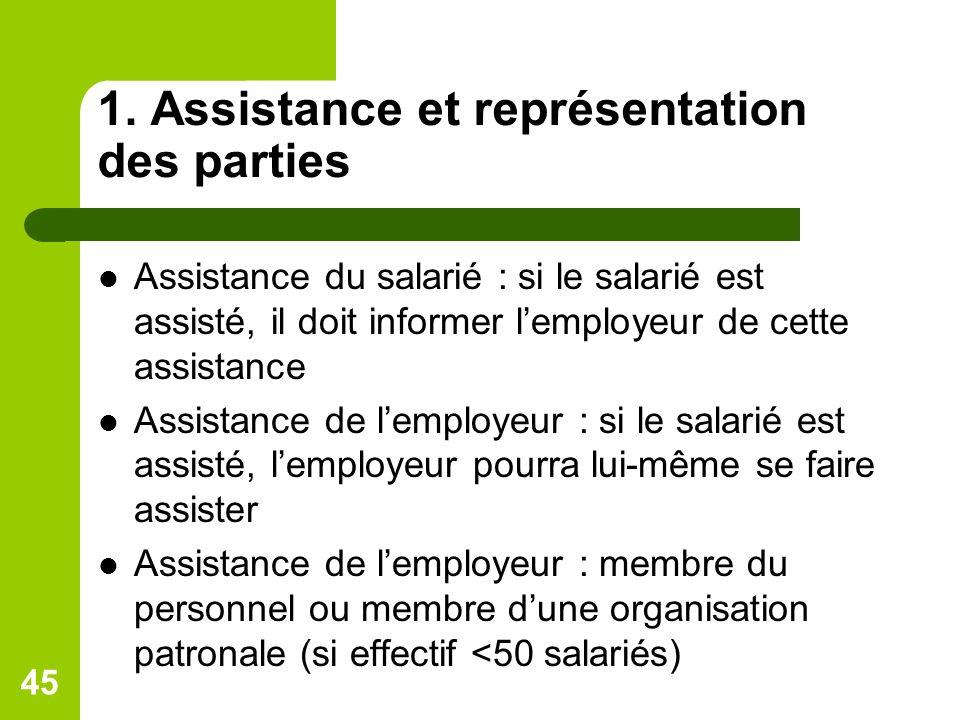 1. Assistance et représentation des parties Assistance du salarié : si le salarié est assisté, il doit informer lemployeur de cette assistance Assista