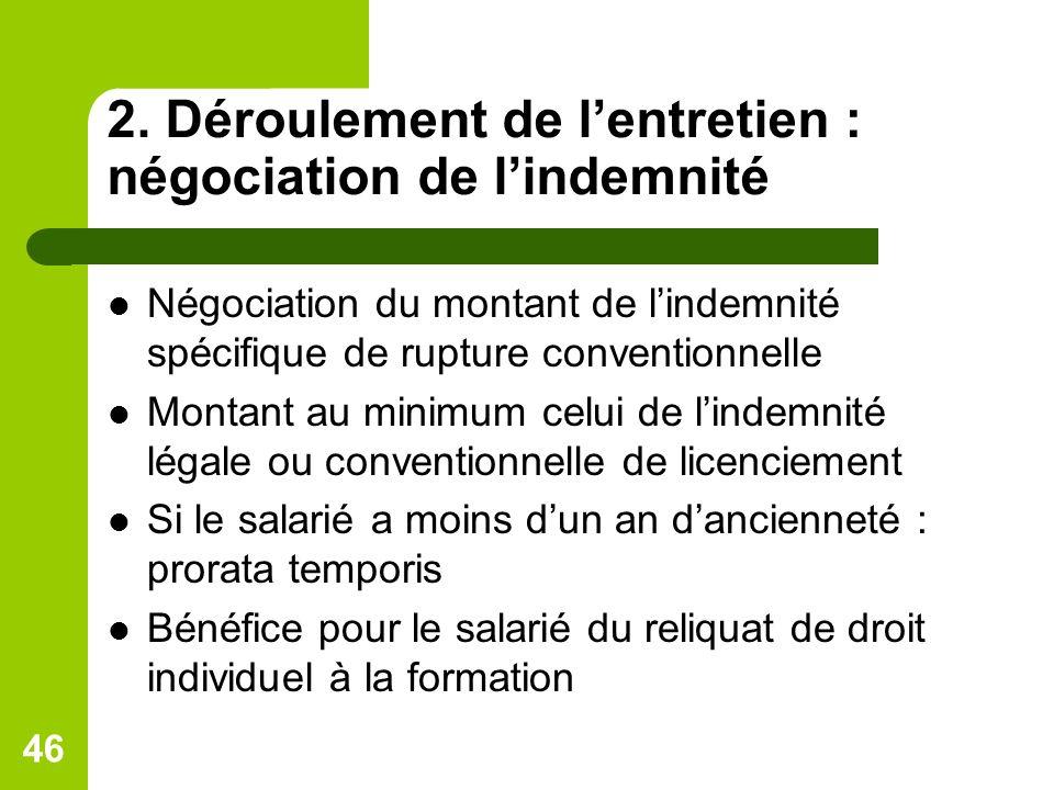 2. Déroulement de lentretien : négociation de lindemnité Négociation du montant de lindemnité spécifique de rupture conventionnelle Montant au minimum
