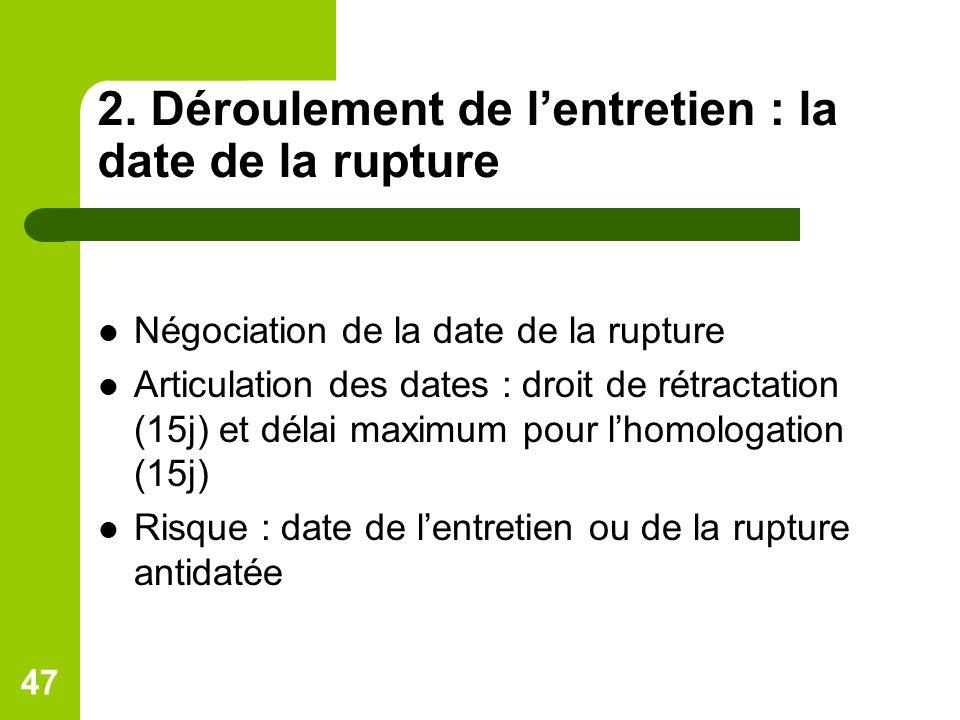 2. Déroulement de lentretien : la date de la rupture Négociation de la date de la rupture Articulation des dates : droit de rétractation (15j) et déla