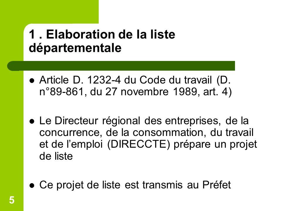 5 1. Elaboration de la liste départementale Article D. 1232-4 du Code du travail (D. n°89-861, du 27 novembre 1989, art. 4) Le Directeur régional des