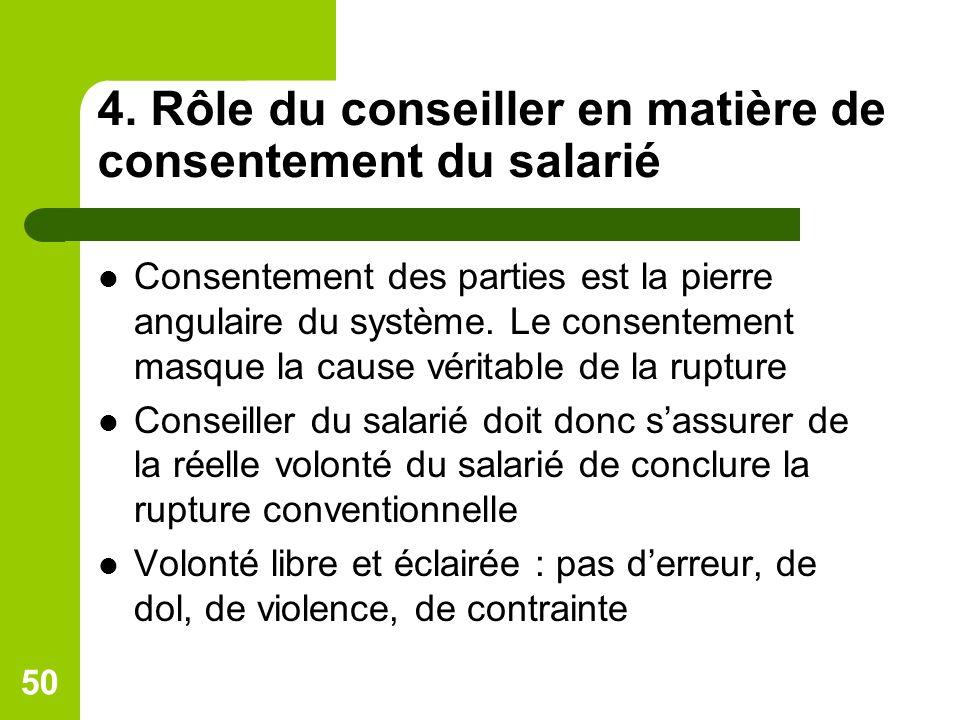 4. Rôle du conseiller en matière de consentement du salarié Consentement des parties est la pierre angulaire du système. Le consentement masque la cau