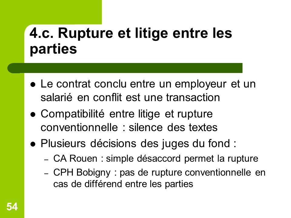 4.c. Rupture et litige entre les parties Le contrat conclu entre un employeur et un salarié en conflit est une transaction Compatibilité entre litige