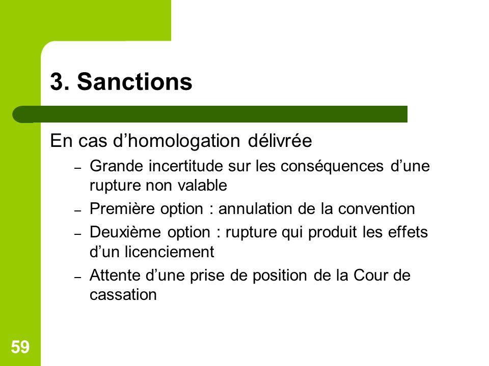 3. Sanctions En cas dhomologation délivrée – Grande incertitude sur les conséquences dune rupture non valable – Première option : annulation de la con