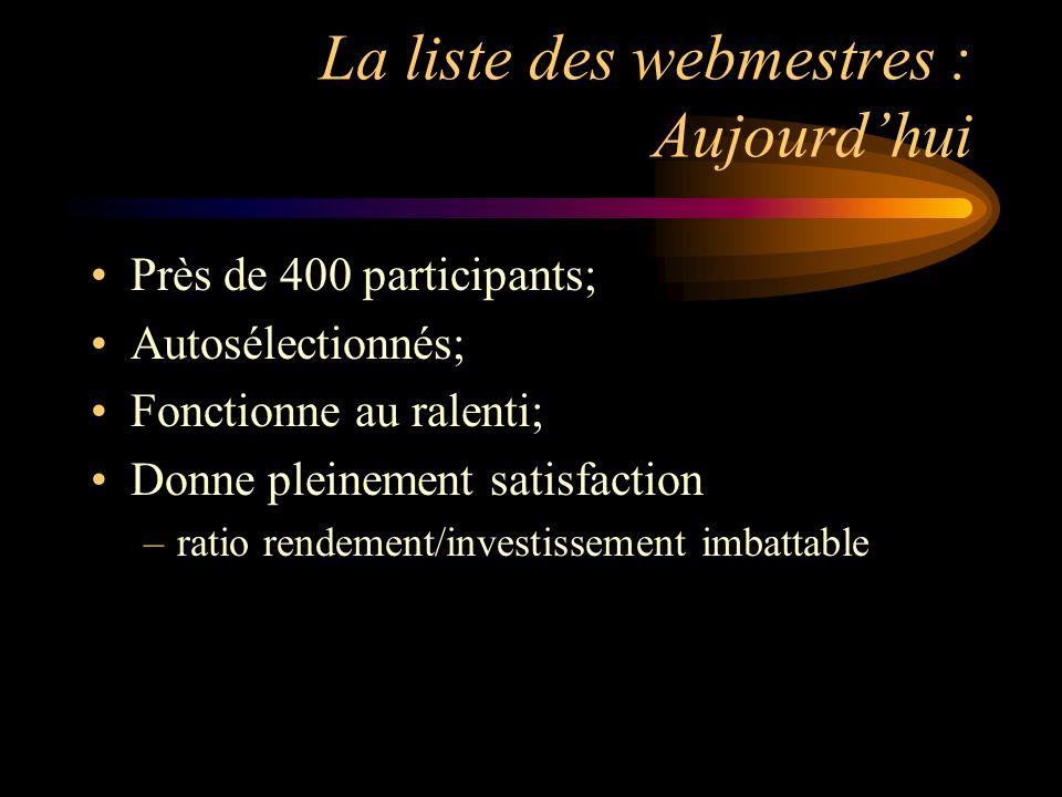 La liste des webmestres : Aujourdhui Près de 400 participants; Autosélectionnés; Fonctionne au ralenti; Donne pleinement satisfaction –ratio rendement/investissement imbattable