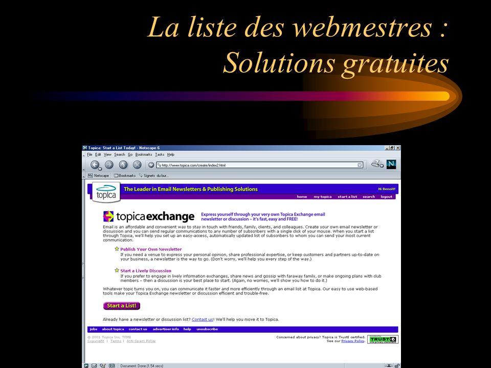 La liste des webmestres : Solutions gratuites