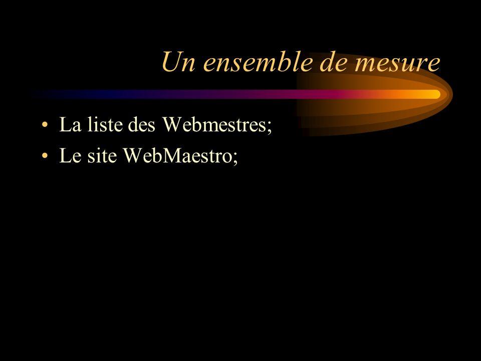 Un ensemble de mesure La liste des Webmestres; Le site WebMaestro;