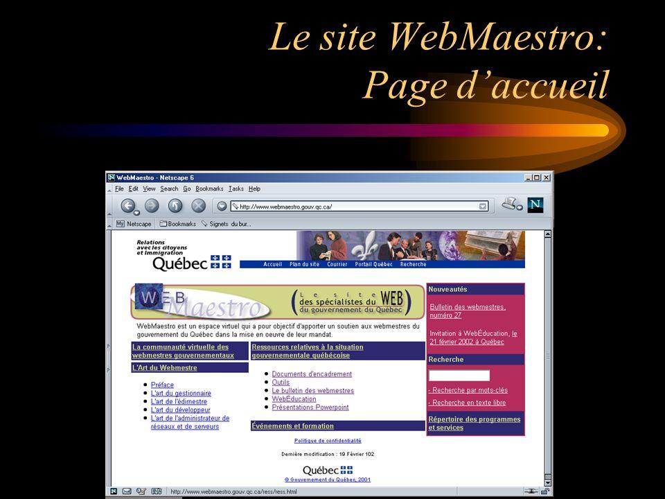Le site WebMaestro: Page daccueil