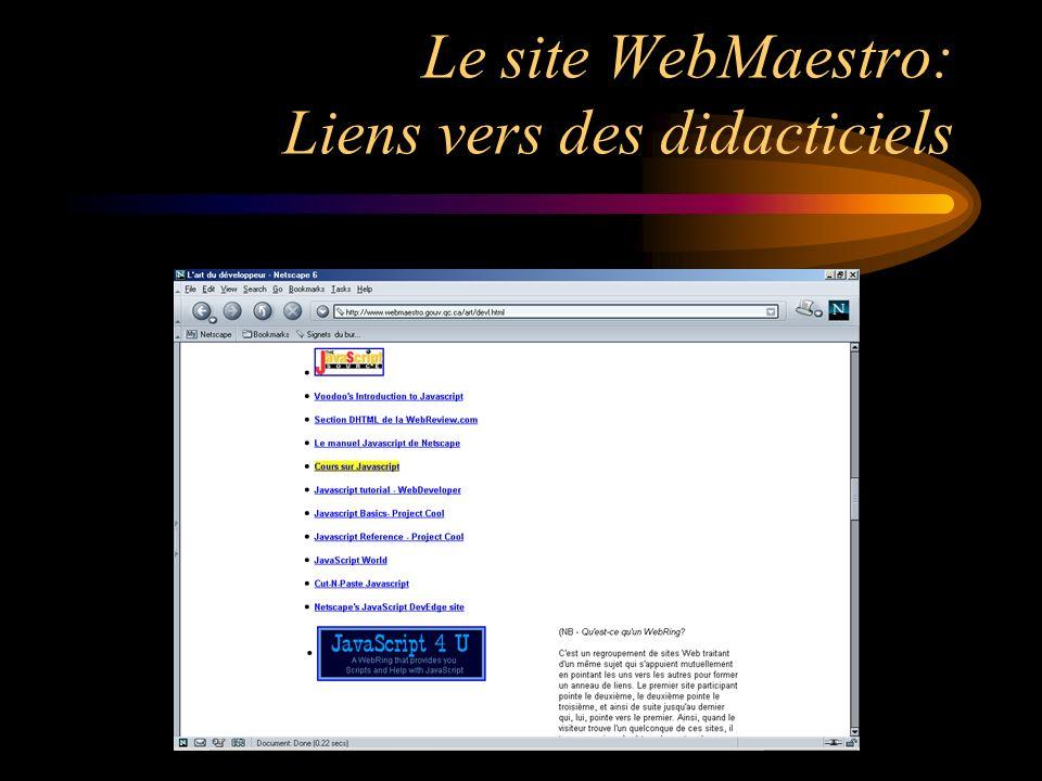 Le site WebMaestro: Liens vers des didacticiels
