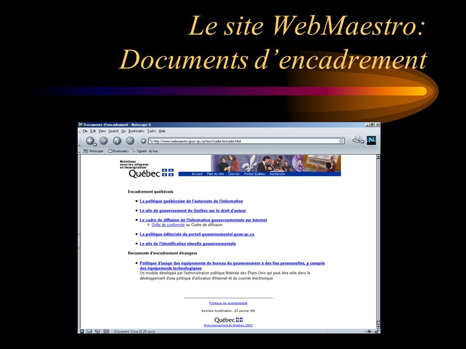 Le site WebMaestro: Documents dencadrement