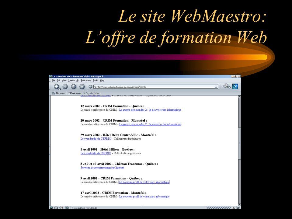 Le site WebMaestro: Loffre de formation Web