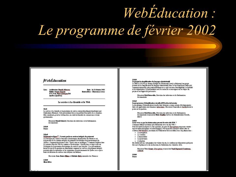 WebÉducation : Le programme de février 2002