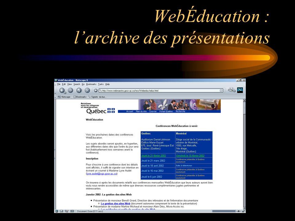WebÉducation : larchive des présentations