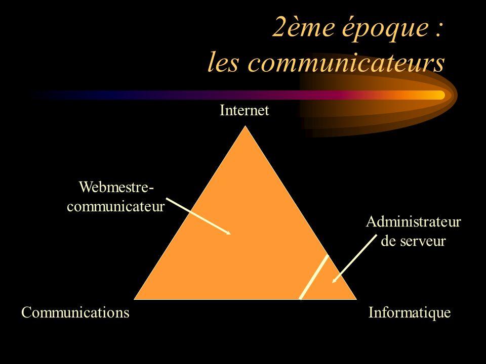 3ème époque : le retour des informaticiens CommunicationsInformatique Internet Webmestre technique Édimestre Administrateur de serveur