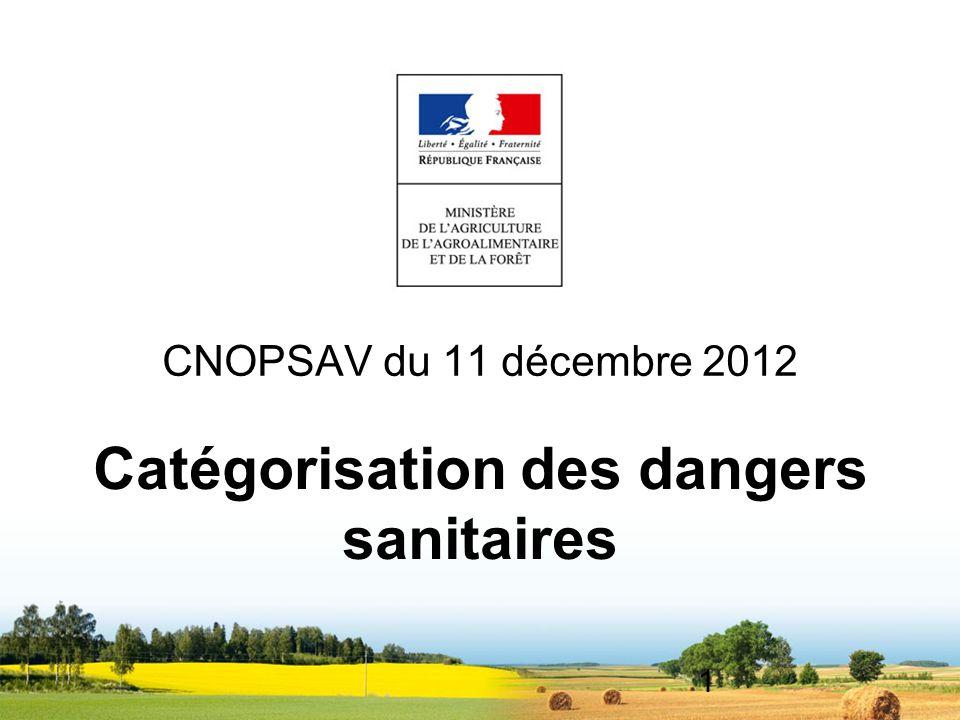1 CNOPSAV du 11 décembre 2012 Catégorisation des dangers sanitaires