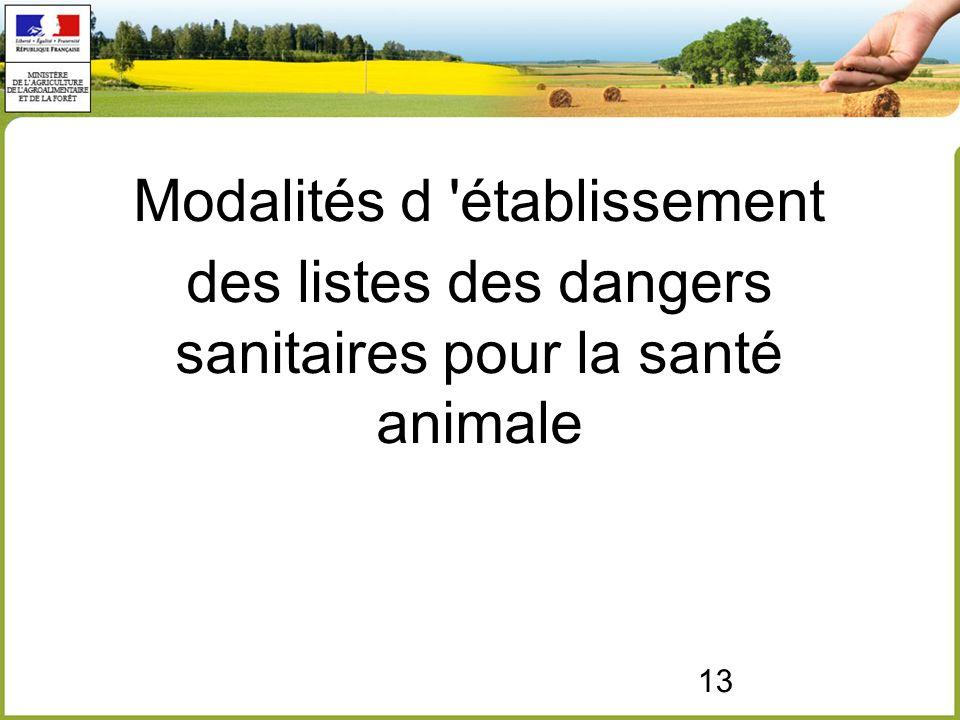 13 Modalités d établissement des listes des dangers sanitaires pour la santé animale