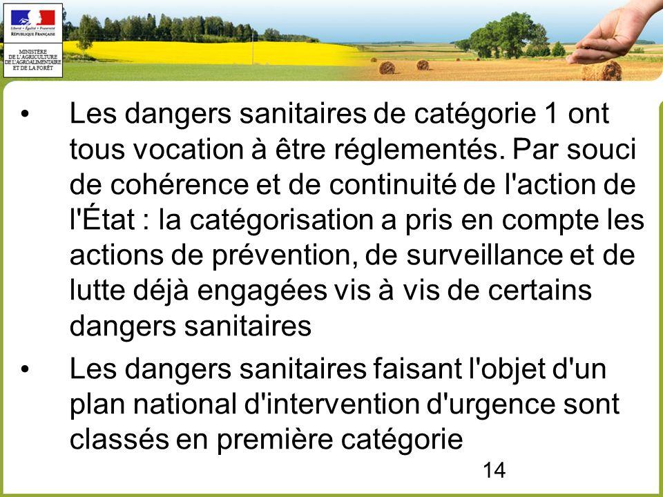 14 Les dangers sanitaires de catégorie 1 ont tous vocation à être réglementés.