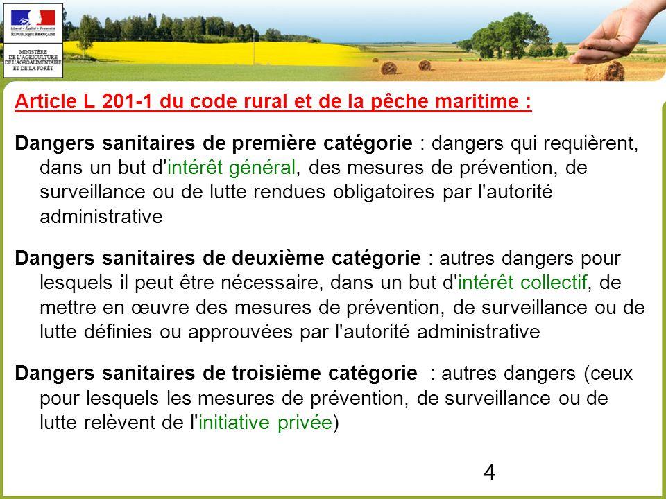 5 Décret n°2012-845 du 30 juin 2012 relatif aux dispositions générales organisant la prévention, la surveillance et la lutte contre les dangers sanitaires de première et deuxième catégorie Définit les modalités permettant d établir les listes des dangers sanitaires