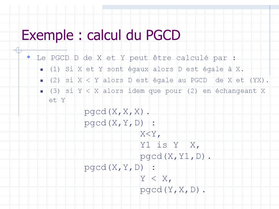 Exemple : calcul du PGCD Le PGCD D de X et Y peut être calculé par : (1) Si X et Y sont égaux alors D est égale à X. (2) si X < Y alors D est égale au