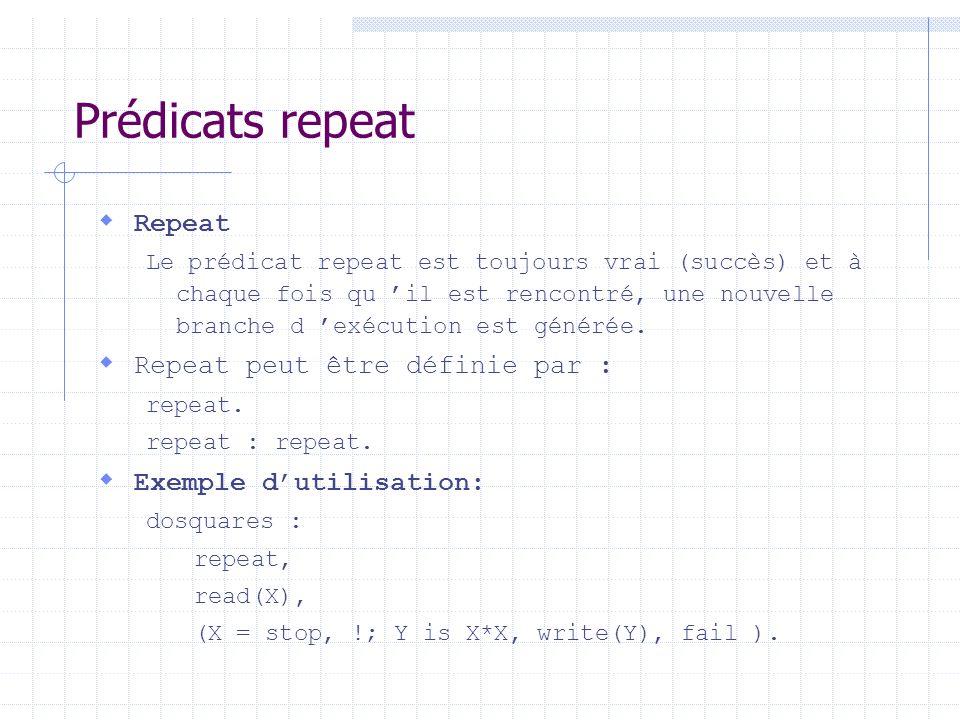 Prédicats repeat Repeat Le prédicat repeat est toujours vrai (succès) et à chaque fois qu il est rencontré, une nouvelle branche d exécution est génér
