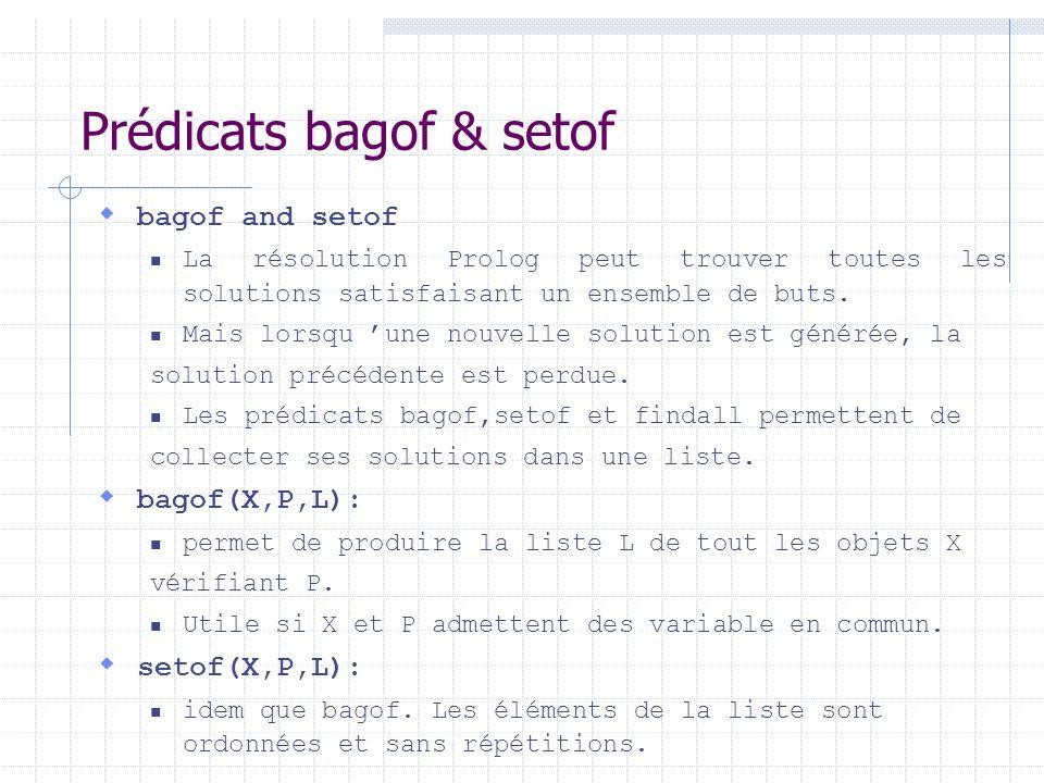 Prédicats bagof & setof bagof and setof La résolution Prolog peut trouver toutes les solutions satisfaisant un ensemble de buts. Mais lorsqu une nouve