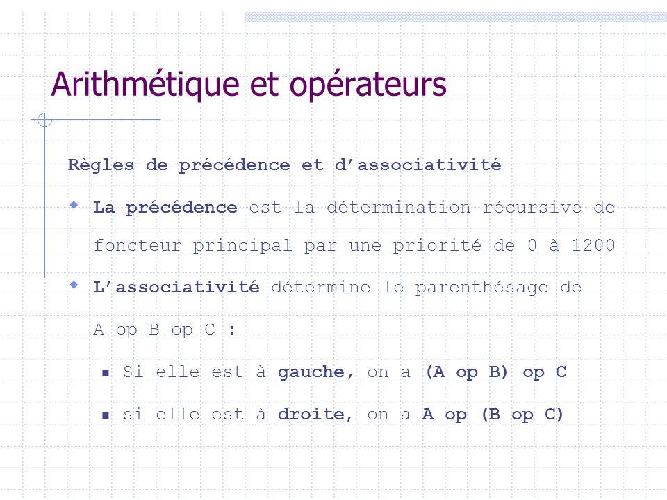 Arithmétique et opérateurs Règles de précédence et dassociativité La précédence est la détermination récursive de foncteur principal par une priorité