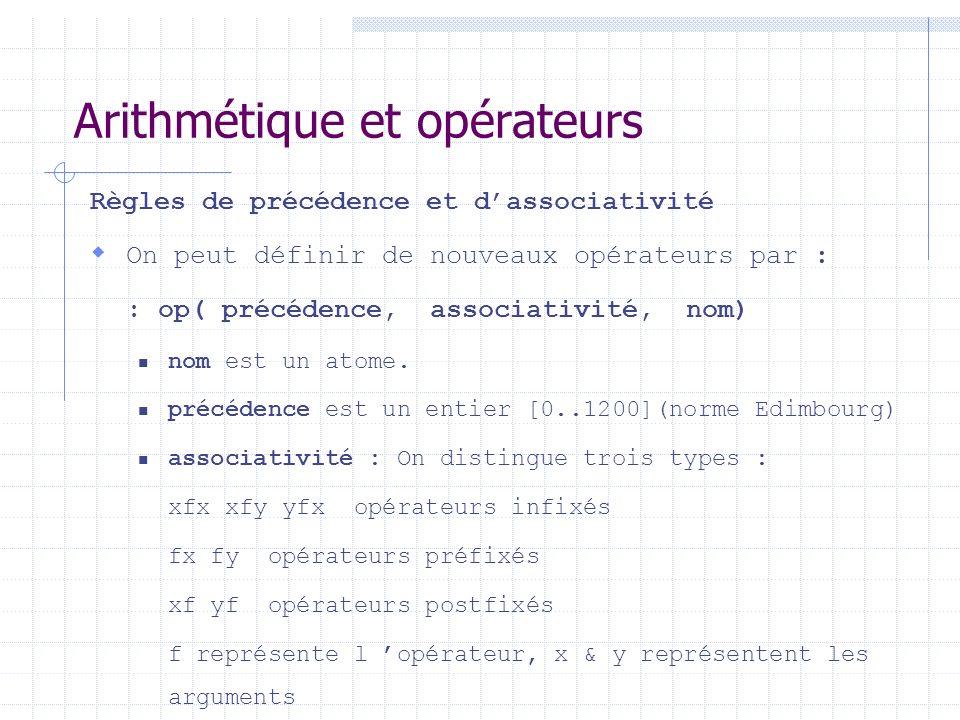 Arithmétique et opérateurs Règles de précédence et dassociativité On peut définir de nouveaux opérateurs par : : op( précédence, associativité, nom)