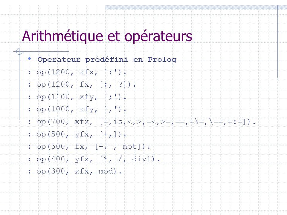 Arithmétique et opérateurs Opérateur prédéfini en Prolog : op(1200, xfx, `:'). : op(1200, fx, [:, ?]). : op(1100, xfy, `;'). : op(1000, xfy, `,