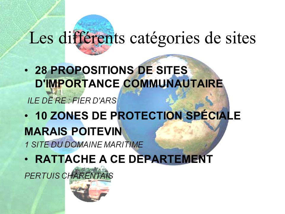 Les différents catégories de sites 28 PROPOSITIONS DE SITES D'IMPORTANCE COMMUNAUTAIRE ILE DE RE : FIER D'ARS 10 ZONES DE PROTECTION SPÉCIALE MARAIS P