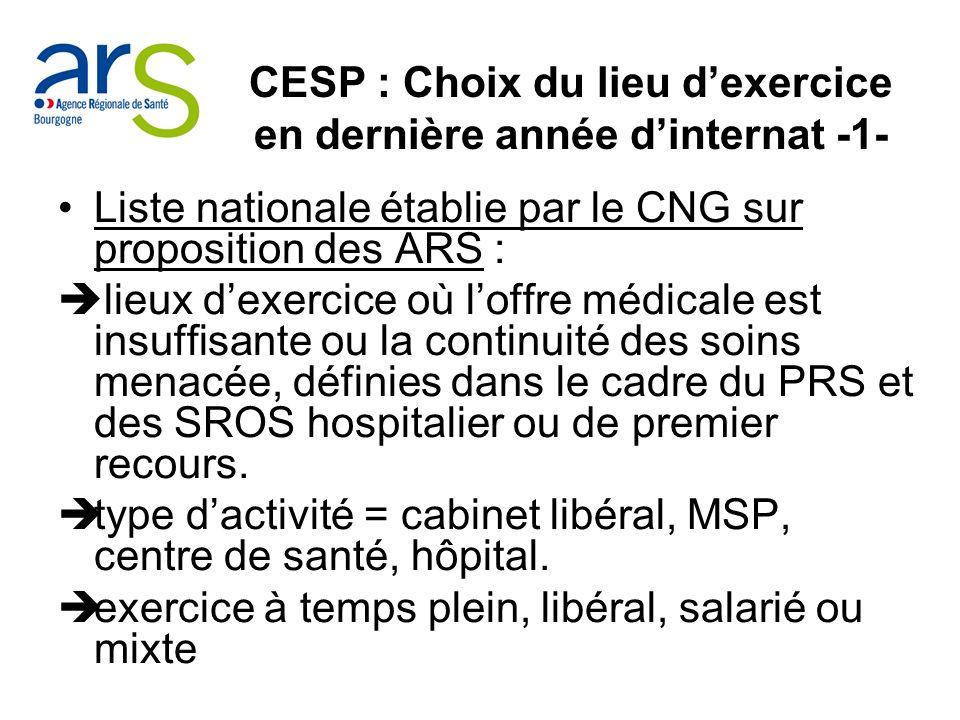 CESP : Choix du lieu dexercice en dernière année dinternat -1- Liste nationale établie par le CNG sur proposition des ARS : lieux dexercice où loffre médicale est insuffisante ou la continuité des soins menacée, définies dans le cadre du PRS et des SROS hospitalier ou de premier recours.