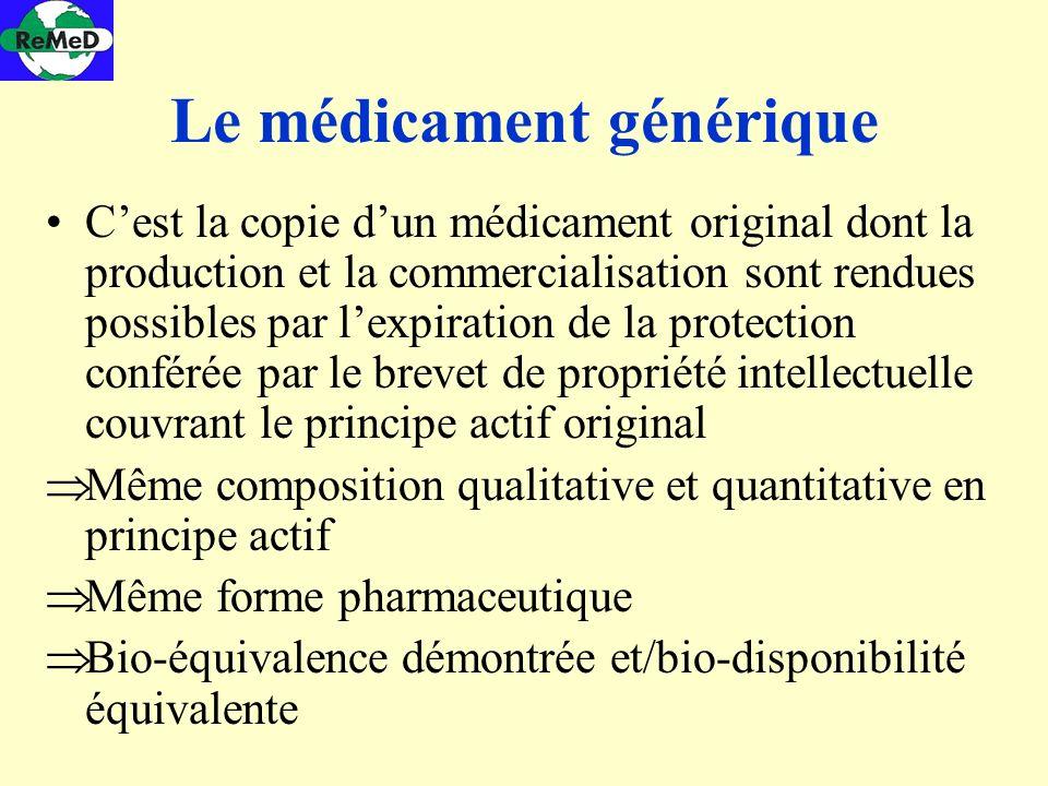 Le médicament générique Cest la copie dun médicament original dont la production et la commercialisation sont rendues possibles par lexpiration de la