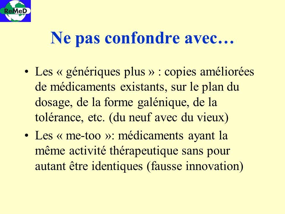 Ne pas confondre avec… Les « génériques plus » : copies améliorées de médicaments existants, sur le plan du dosage, de la forme galénique, de la tolér