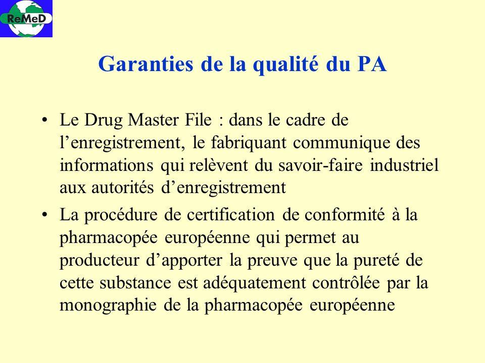Garanties de la qualité du PA Le Drug Master File : dans le cadre de lenregistrement, le fabriquant communique des informations qui relèvent du savoir