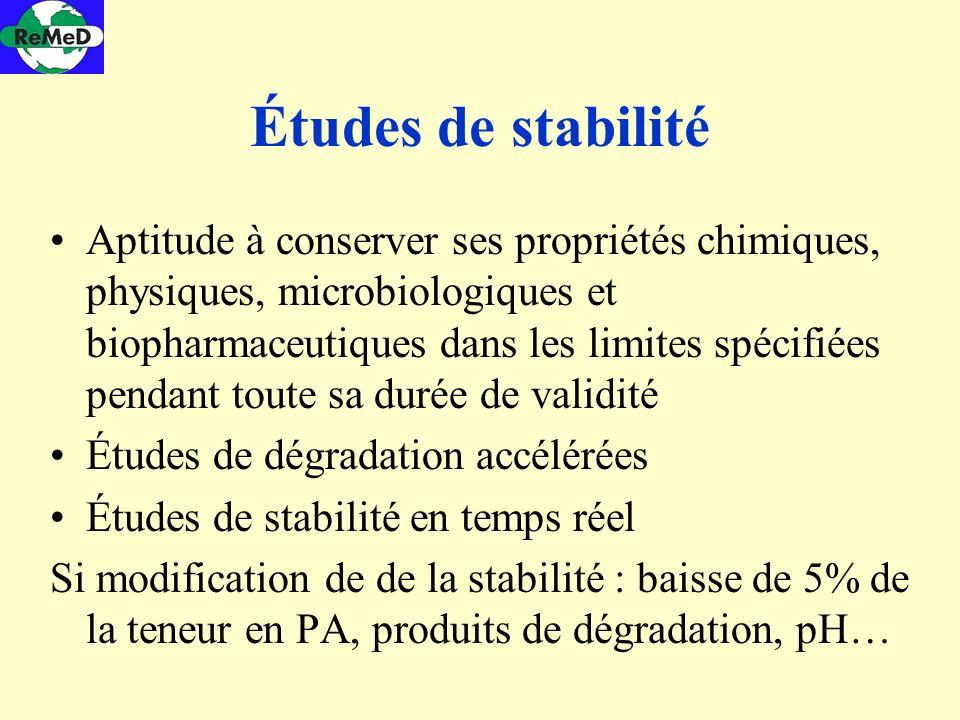 Études de stabilité Aptitude à conserver ses propriétés chimiques, physiques, microbiologiques et biopharmaceutiques dans les limites spécifiées penda