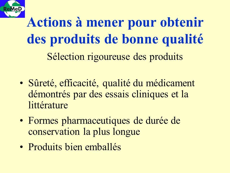 Actions à mener pour obtenir des produits de bonne qualité Sélection rigoureuse des produits Sûreté, efficacité, qualité du médicament démontrés par d