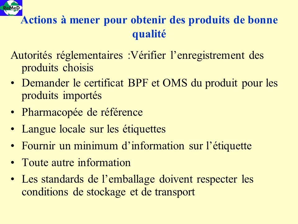 Actions à mener pour obtenir des produits de bonne qualité Autorités réglementaires :Vérifier lenregistrement des produits choisis Demander le certifi